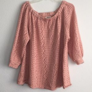 Style & Co peach sweater elastic neck cuffed sleve